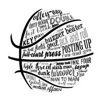 Basketball Terms BNW Fine Art Print