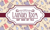 Laundry Room Sign Yellow Pattern Fine Art Print