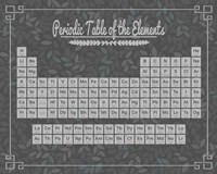 Periodic Table Gray and Teal Leaf Pattern Dark Fine Art Print