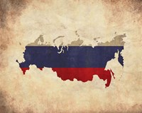 Map with Flag Overlay Russia Fine Art Print