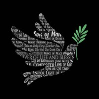 Names of Jesus Dove Silhouette Black Fine Art Print