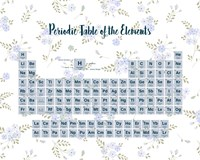 Periodic Table Of The Elements Blue Floral Fine Art Print