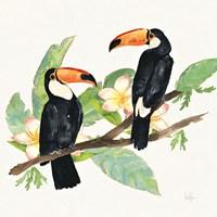 Tropical Fun Bird I Leaves Fine Art Print