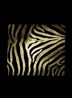 Gold Foil Zebra Pattern on Black Fine Art Print