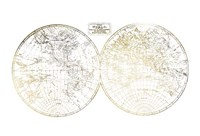 Gold Foil World in Hemispheres Fine Art Print