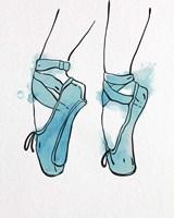 Ballet Shoes En Pointe Blue Watercolor Part I Fine Art Print