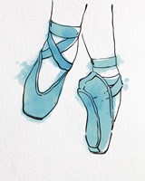 Ballet Shoes En Pointe Blue Watercolor Part II Fine Art Print