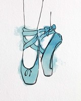 Ballet Shoes En Pointe Blue Watercolor Part III Fine Art Print