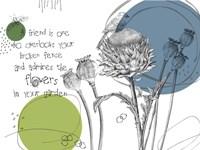 Graphite Bird And Thistle Fine Art Print