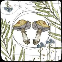 Watercolor Woodlands Gold Mushrooms Fine Art Print