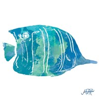 Watercolor Fish in Teal III Fine Art Print