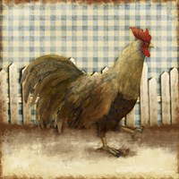Rooster on Damask I Fine Art Print