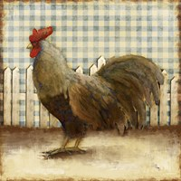 Rooster on Damask II Fine Art Print