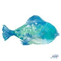 Watercolor Fish in Teal II Fine Art Print