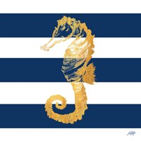 Gold Seahorse on Stripes II Fine Art Print
