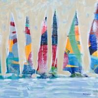 Dozen Colorful Boats Square II Fine Art Print