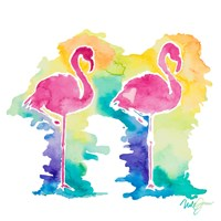 Sunset Flamingo Square I Fine Art Print