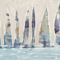 Muted Sail Boats Square II Fine Art Print