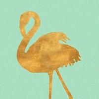 Teal Gold Flamingo Fine Art Print