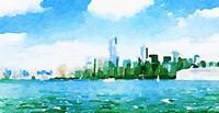 Watercolor NYC Skyline I Fine Art Print