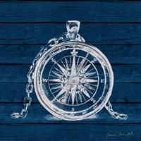 Compass on Blue Wood Fine Art Print