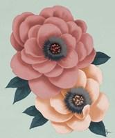 Pink Flowers on Mint I Fine Art Print