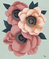 Pink Flowers on Mint II Fine Art Print