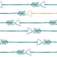 Teal and Gold Arrows Fine Art Print