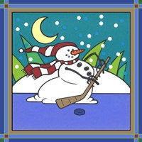 Coalman The Snowman Hockey 1 Fine Art Print