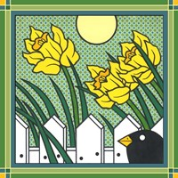 Daffodils 2 With Kernal The Crow Fine Art Print