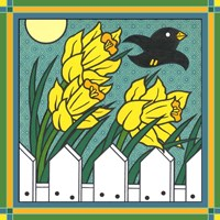 Daffodils 3 With Kernal The Crow Fine Art Print