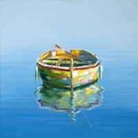 1 Boat Blue Fine Art Print
