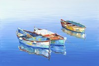 3 Boats Blue 1 Fine Art Print