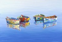 4 Boats Blue Fine Art Print