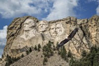 Mount Rushmore And Eagle Fine Art Print