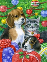 Puppies and Kitten Under the Tree Fine Art Print