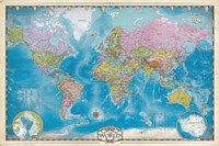 Map of the World with Poles Fine Art Print