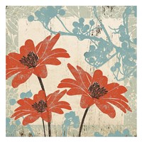 Orange & Blue Floral Fine Art Print