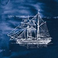 Sailing Ships V Indigo Fine Art Print