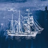 Sailing Ships III Indigo Fine Art Print
