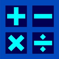 Math Symbols Square - Blue Fine Art Print