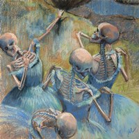 Blue Skelly Dancers Fine Art Print