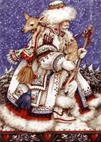 Father Christmas with Deer Fine Art Print