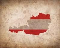 Map with Flag Overlay Austria Fine Art Print