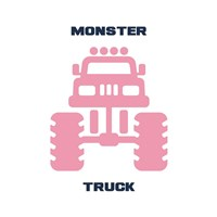 Monster Truck Graphic Pink Part II Fine Art Print