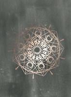 Rose Gold Foil Mandala II on Black Wash Fine Art Print