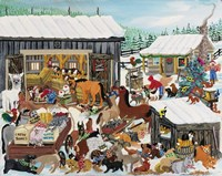 Barnyard Christmas Party Fine Art Print