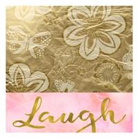 Laugh Golden Flowers Fine Art Print