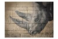 Stone Wall Rhino Fine Art Print
