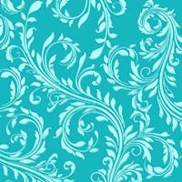 Teal Aqua Damask Fine Art Print